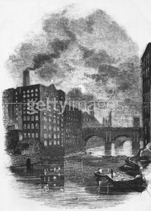 Factories on the River Irwell in the city of Manchester, circa 1850. (Photo by Hulton Archive/Getty Images)