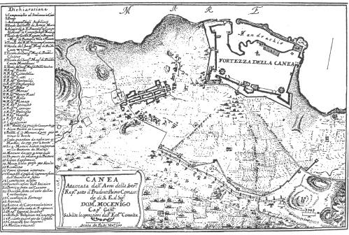 1'Ετος 1692. Στρατιωτικό σχεδιάγραμμα Dom. Mocenigo. Στο υπόμνημα αριθμ' 30 αναγράφονται οι νερόμυλοι
