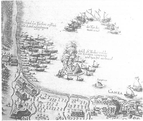 1Ιούνης 1645. Προέλαση των τουρκικών στρατευμάτων και του στόλου από το Κολυμπάρι προς τα Χανιά