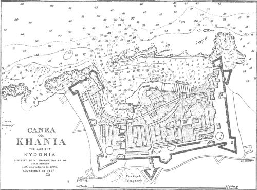 1Χάρτης W. Chapman της εντός των τειχών πόλης των Χανίων. Στα αριστερά από την πλευρά της Νέας Χώρας, φαίνετ