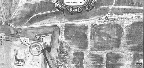 Απόσπασμα Ενετικού χάρτη του β΄ μισού του 16ου αιώνα. Αριστερά ο προμαχώνας του Αγ. Δημητρίου και δεξιά