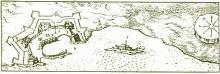 Γκραβούρα του 17ου αιώνα με το Λαζαρέτο και το κτίσμα του λοιμοκαθαρτηρίου