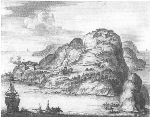 Γκραβούρα του νησιού Θοδωρού στα τέλη του 16ου ή αρχές του 17ου αιώνα με τα δύο ενετικά κάστρα